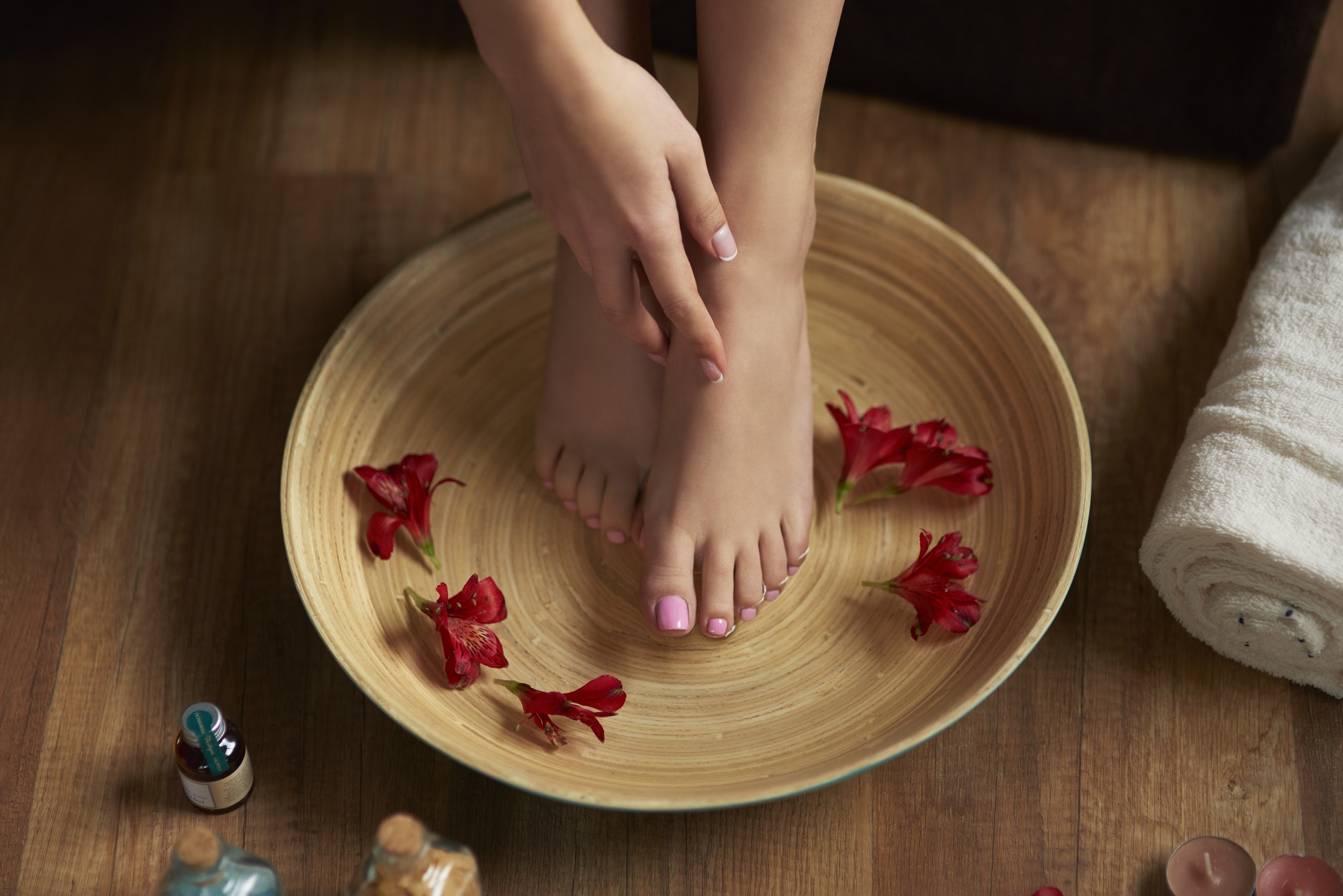 Time for pedicure at spa center